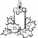 Desenho de Vela de Natal com arranjo para pintar