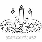 Desenho de enfeite de Natal com 3 velas para colorir