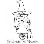 Desenho de bruxa para imprimir e colorir