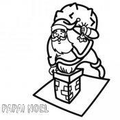 Desenho de Papai Noel entrando pela chaminé para colorir