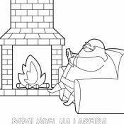 Desenho para criança de Papai Noel na lareira