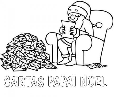 Desenho para colorir de Papai Noel lendo as cartas de Natal