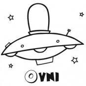 Desenho de um ovni com estrelas para pintar