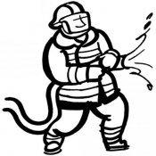 Desenho de bombeiro com mangueira para pintar