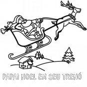 Desenho para pintar de Papai Noel voando em seu trenó