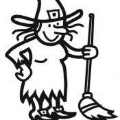 Desenho para criança de Bruxa com vassoura