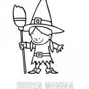 Desenho de bruxa menina para imprimir y colorir