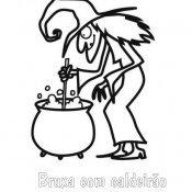 Desenho para pintar de Bruxa fazendo poção mágica