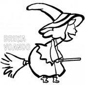 Desenho de Bruxa voando na vassoura para colorir
