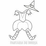 Desenho de uma fantasía de Bruxa para imprimir e colorir