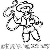 Fantasia de cowboy ou vaqueiro para colorir