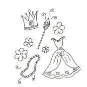 Desenho de roupas e acessórios de princesa