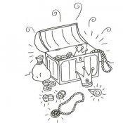 Desenho de um baú de tesouro para pintar