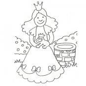 Desenho de princesa com sapo para colorir