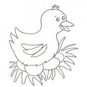 Desenho de uma galinha com ovos de Páscoa