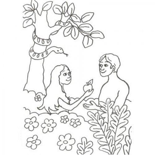 Desenho de Adão e Eva para colorir