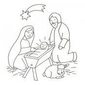 Desenho de María, José e Jesús para colorir