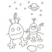 Desenho para colorir de dois extraterrestres