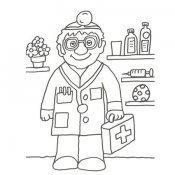 Desenho de médico na consulta para pintar
