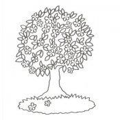 Desenho para colorir de árvore com flores