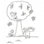 Desenho de árvore e um cachorro para pintar