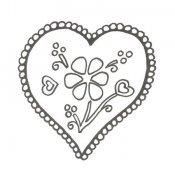 Desenho de coração decorado para pintar