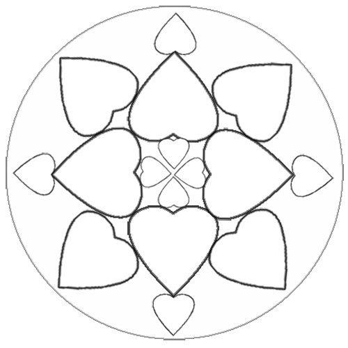 Desenho de mandala com corações para colorir - Desenhos de Mandalas ...