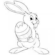 Desenho de coelho com um grande ovo de Páscoa