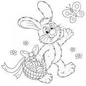 Desenho de um coelho com cesta de ovos de Páscoa