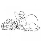 Desenho de um coelho com 7 ovos de Páscoa