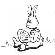 Desenho de coelho com ovo de Páscoa para imprimir