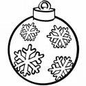 Desenho de bola de Natal enfeitada para pintar