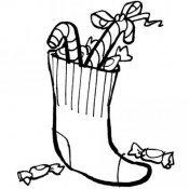 Desenho de meia cheia de guloseimas para pintar