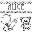 Desenhos do nome Alice para imprimir e colorir com as crianças