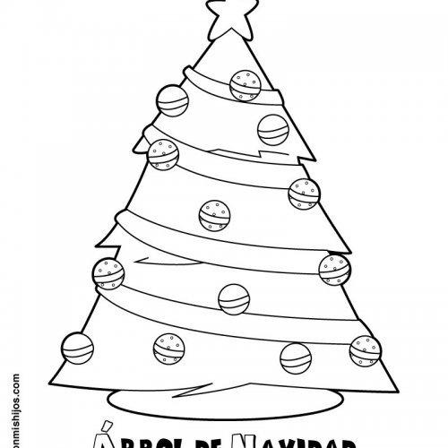 Árbol de Navidad para imprimir y colorear. Dibujos navideños para niños