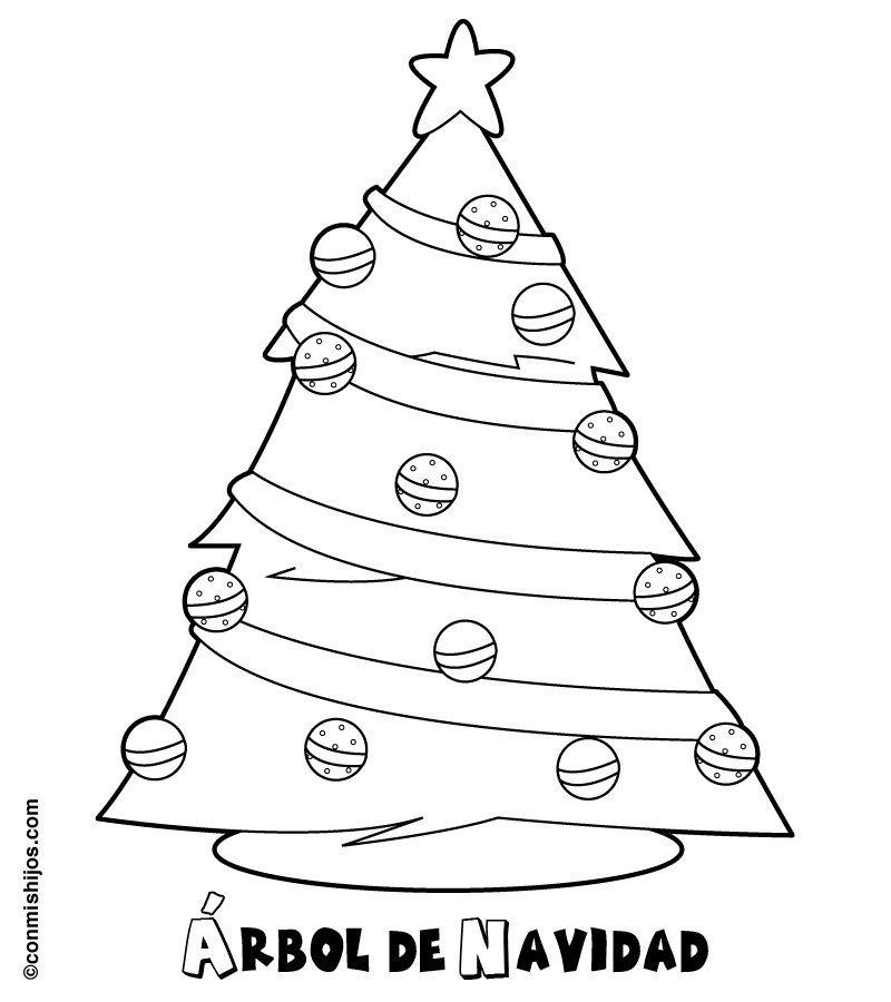 árbol De Navidad Para Imprimir Y Colorear Dibujos Navideños Para Niños