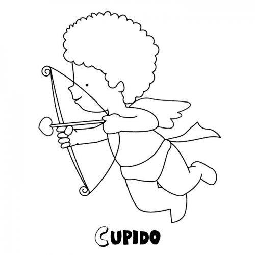 Dibujo de Cupido para colorear con los niños