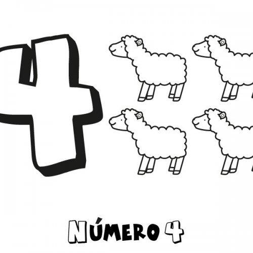 Dibujo para colorear con los niños del número 4
