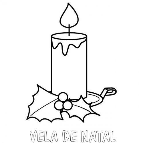desenho de vela de natal para colorir
