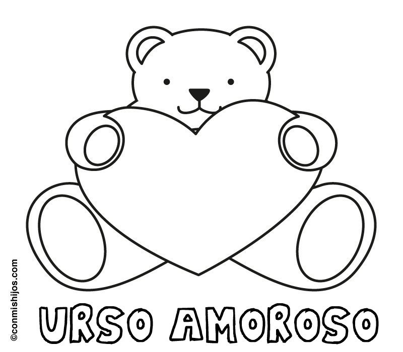 Desenho de urso amoroso para colorir