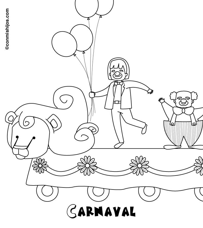 Dibujo de Carnaval disfraz de circo para pintar con niños