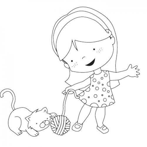 Dibujo para imprimir y colorear de una niña con gato
