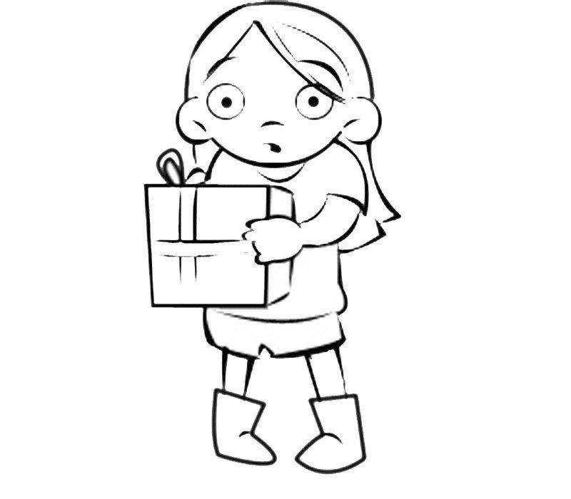 Dibujo infantil de niña con regalo