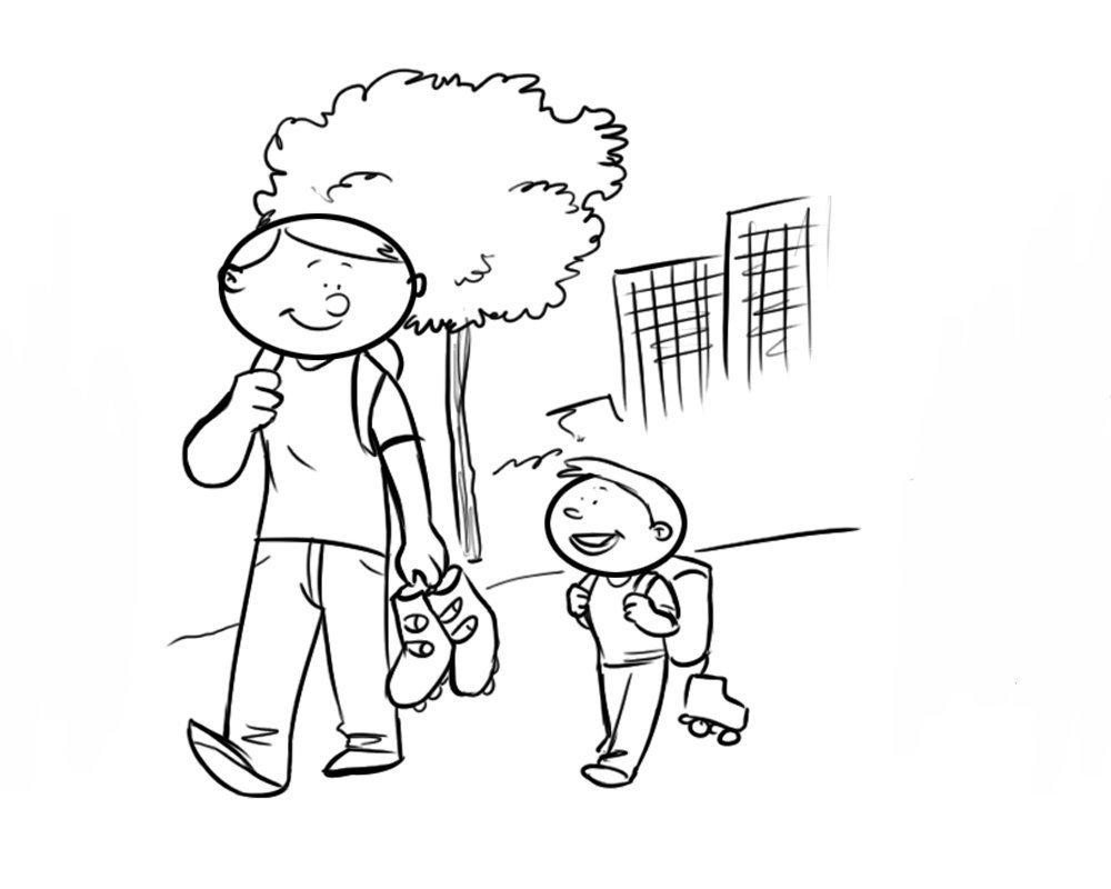 Dibujo para colorear de padre e hijo caminando con patines