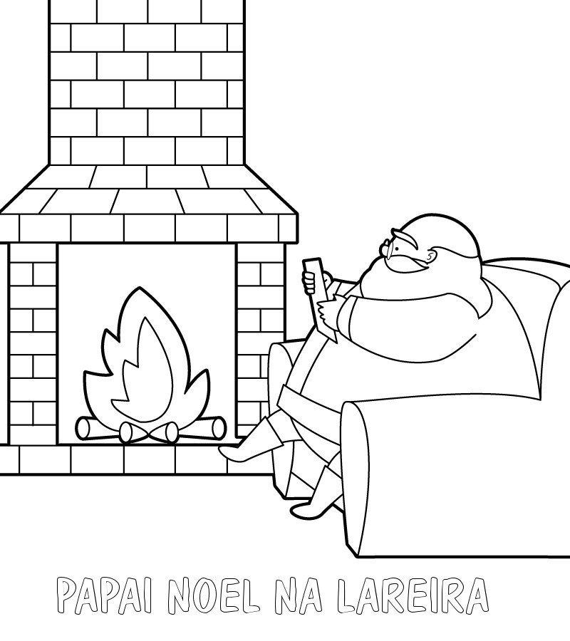 Desenho Para Crianca De Papai Noel Na Lareira