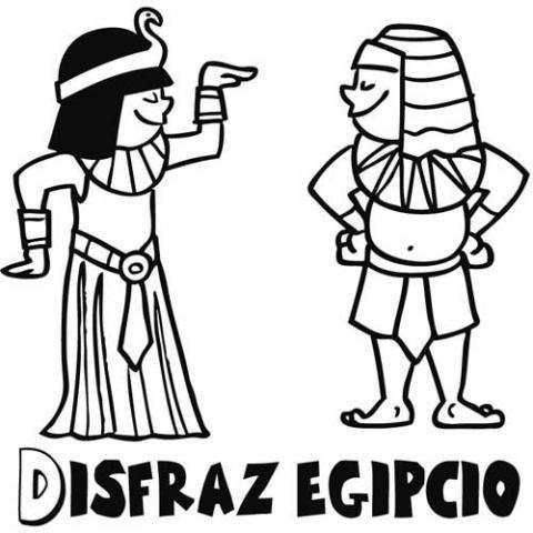 Dibujos de disfraces egipcio y Cleopatra para Carnaval de los niños