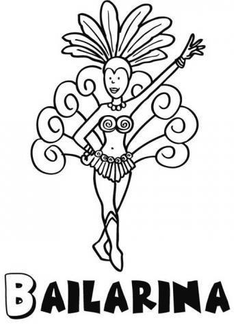 Dibujos de una bailarina en Carnaval para colorear con los niños