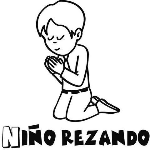 Dibujo para colorear de niño rezando en su Primera Comunión