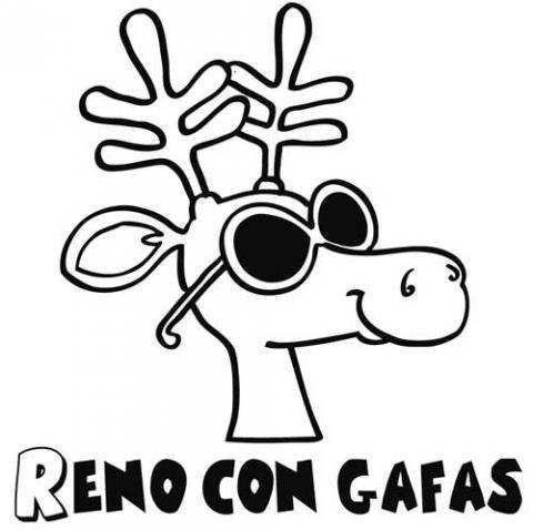 Dibujo de un reno con gafas para colorear