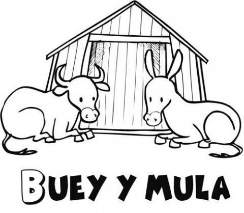 Buey y mula para colorear. Dibujos del Belén de Navidad para niños